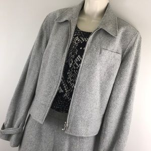 RL wool blend lined jacket soft gray career 10